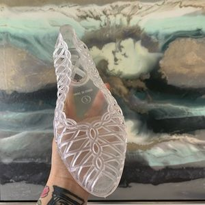 Shoes - Peep toe clear jelly flats in size 7